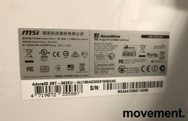 MSI Alt-i-ett PC i hvitt med innebygget skjerm: Adora 20, Intel J1900 / 4GB / 500GB, Win10, pent brukt bilde 3