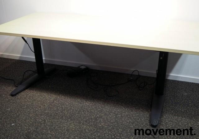 Skrivebord med elektrisk hevsenk i bjerk laminat / sort fra EFG, 180x80cm, pent brukt bilde 1