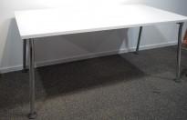 Skrivebord / lite møtebord i hvitt / krom, 160x80, pent brukt understell / ny plate