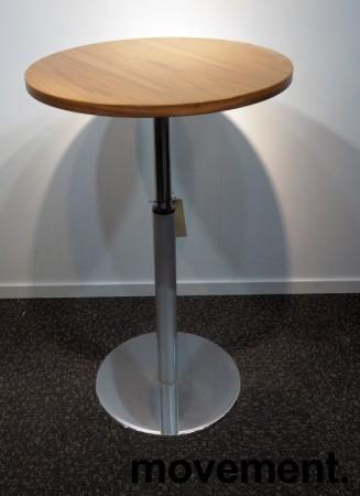 Lite møtebord i valnøtt / krom fra Inno, Ø=60cm, understell med lift (65-96cm), pent brukt bilde 2