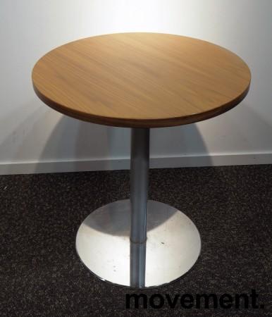 Lite møtebord i valnøtt / krom fra Inno, Ø=60cm, understell med lift (65-96cm), pent brukt bilde 1