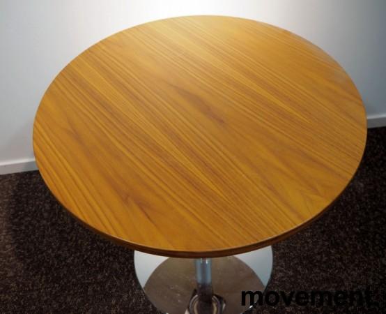 Lite møtebord i valnøtt / krom fra Inno, Ø=60cm, understell med lift (65-96cm), pent brukt bilde 3