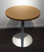 Lite møtebord i valnøtt / krom fra Inno, Ø=60cm, understell med lift (65-96cm), pent brukt