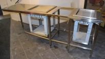 Rustfri stålbenk for kantine, 247,5cm bredde, med brettbrønn, bakkebrønn og tallerkendispenser, pent brukt