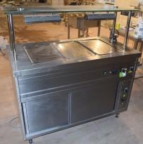 Vannbad / varmebad i rustfritt stål, 130cm bredde, varmeskap under, glasstopp, pent brukt 2015-modell