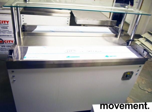 Serveringsdisk for kantine i hvitt komplett med disk og brettbaner i rustfritt, topphylle i glass, 130cm bredde, pent brukt 2015-modell bilde 1