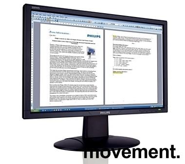 Flatskjerm til PC: Philips 20,1toms, 200WS, 1680x1050, VGA/DVI, pent brukt