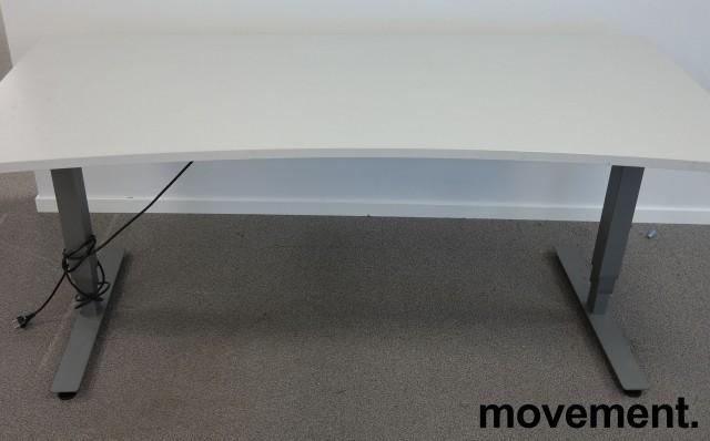 Skrivebord med elektrisk hevsenk i hvitt / grått fra EFG, 180x90cm med mavebue, pent brukt bilde 1