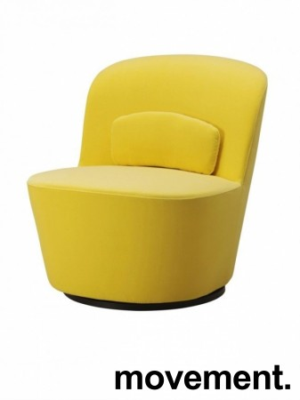 Loungestol i gul velour fra IKEAs Stockholm-serie med sving, pent brukt bilde 1