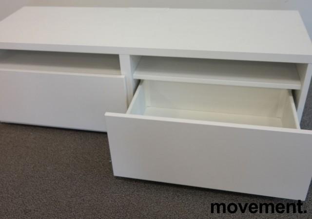 IKEA skjenk / TV-benk i hvitt, 120cm bredde, 40cm høyde, 2 skuffer, pent brukt bilde 2