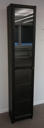 IKEA Billy / Oxberg bokhylle med glassdør i brunsort, bredde 40cm, høyde 202cm, pent brukt bilde 1