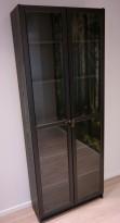IKEA Billy / Oxberg bokhylle med glassdør i brunsort, bredde 40cm, høyde 202cm, pent brukt
