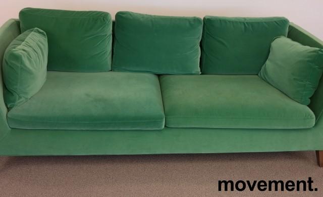 3-seter sofa i grønn velour fra IKEAs Stockholm-serie, bredde 210cm, pent brukt bilde 2
