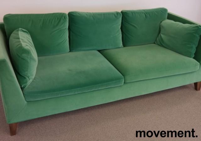 3-seter sofa i grønn velour fra IKEAs Stockholm-serie, bredde 210cm, pent brukt bilde 3