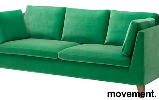 3-seter sofa i grønn velour fra IKEAs Stockholm-serie, bredde 210cm, pent brukt bilde 1