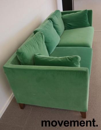 3-seter sofa i grønn velour fra IKEAs Stockholm-serie, bredde 210cm, pent brukt bilde 4