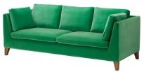 3-seter sofa i grønn velour fra IKEAs Stockholm-serie, bredde 210cm, pent brukt