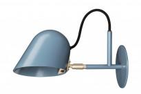 Vegglampe / leselampe i blått / messing fra Örsjö belysning, modell Streck, 6w LED, pent brukt