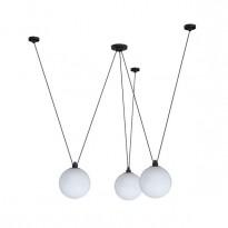 Taklampe / lysekrone fra Lampe Gras, modell N325 med glasskupler, pent brukt