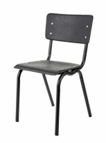 Konferansestol / kafestol / skolestol i sort vinyl fra Serax, pent brukt
