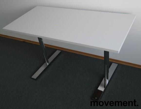 Martela kompakt skrivebord / sidebord i hvitt / krom,120x60cm, pent brukt bilde 2