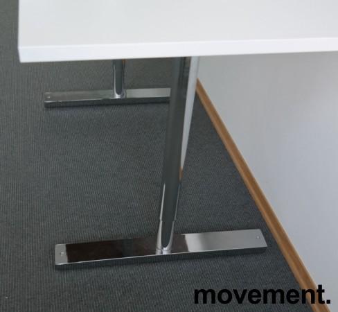 Martela kompakt skrivebord / sidebord i hvitt / krom,120x60cm, pent brukt bilde 3