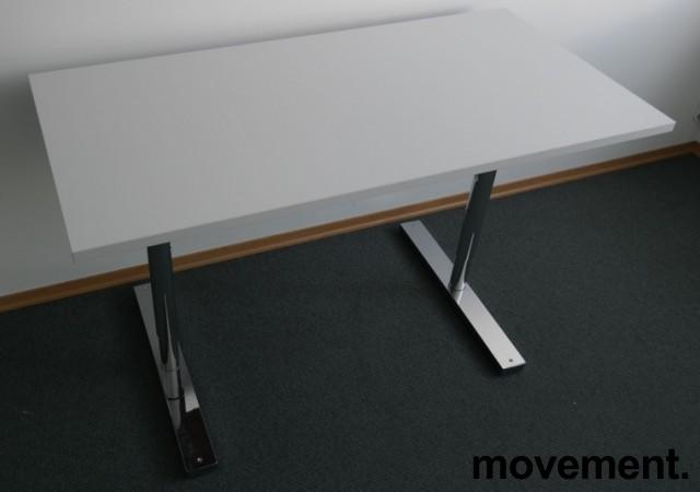 Martela kompakt skrivebord / sidebord i hvitt / krom,120x60cm, pent brukt bilde 1