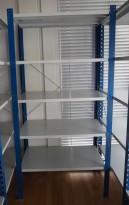 Lagerreol / stålreol i lys grå / blå, høyde: 205cm, 100cm bredde, 1 fag, 60cm dybde, pent brukt
