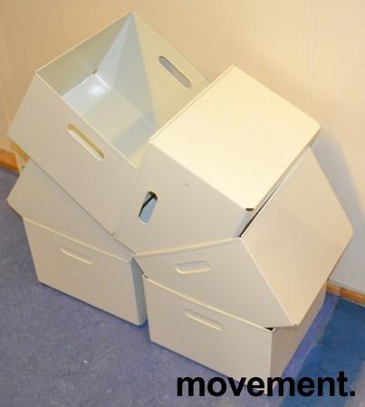 Kinnarps kasser i hvitlakkert metall for hengemapper, ypperlig til LP-plater (LP-kasse), pent brukt bilde 2