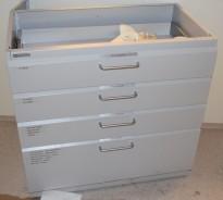 Köttermann skuffseksjon i stål, verktøyskuff / labinnredning, 4 skuffer, 90cm bredde, 88cm høyde, pent brukt