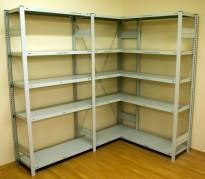 Lagerhylle / stålhylle, hvitlakkert, hjørneløsning 206,5 x 145cm, 200.5 cm høy, pent brukt