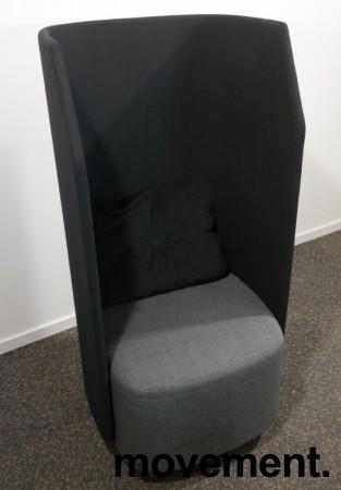 Lekker 1-seter alkovesofa / lenestol med høy rygg fra Kinnarps, modell Fields, sort / grått stoff, pent brukt bilde 1
