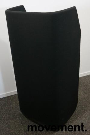 Lekker 1-seter alkovesofa / lenestol med høy rygg fra Kinnarps, modell Fields, sort / grått stoff, pent brukt bilde 3