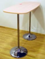 Ståbord / barbord Kinnarps Serie-E i bøk laminat / ben i krom, 140x60cm, høyde 109cm, pent brukt