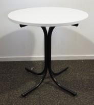 Lite, rundt møtebord, hvit plate, sort understell, Ø=70cm, H=73cm, pent brukt