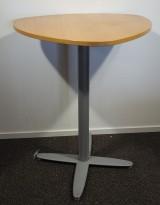 Barbord / ståbord i eik / grålakkert metall fra Kinnarps, T-serie, 90x90cm, høyde 110cm, pent brukt
