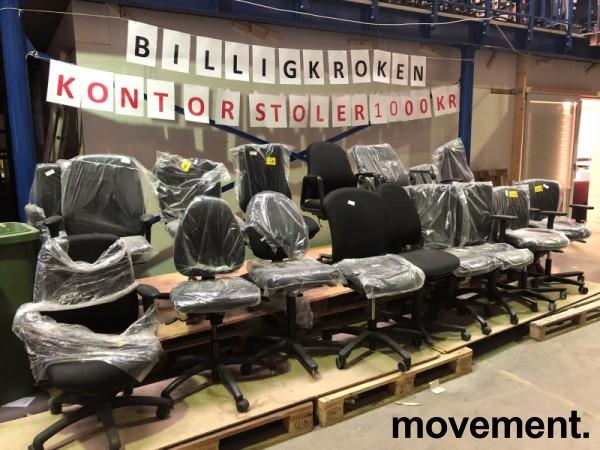 Nytrukne kontorstoler fra forskjellige produsenter, Billigkroken - et utvalg av nytrukne kontorstoler til 1000 kr pr. stk, KUPPVARE