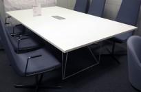 Møtebord AIR i hvitt 220x130cm med kabelluke, 6-8 personer, pent brukt