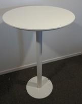 Barbord / ståbord i hvitt, Ø=70cm, høyde 111cm, pent brukt