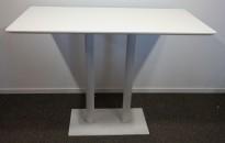 Ståbord / barbord i hvitt, 140x70cm, høyde 102,5cm, pent brukt