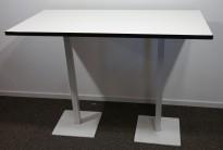 Ståbord / barbord i hvitt med sort kant, 140x70cm, høyde 103cm, pent brukt