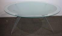 Møtebord / konferansebord i glass / grått understell, 170x128cm, brukt med en del slitasje