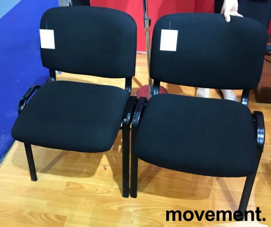 Solid konferansestol BIFA med sortlakkert metallramme og stofftrukket sete og rygg, NY/UBRUKT bilde 2