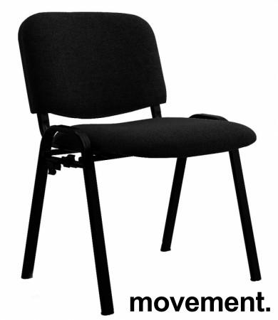Solid konferansestol BIFA med sortlakkert metallramme og stofftrukket sete og rygg, NY/UBRUKT bilde 1