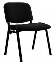 Solid konferansestol BIFA med sortlakkert metallramme og stofftrukket sete og rygg, NY/UBRUKT