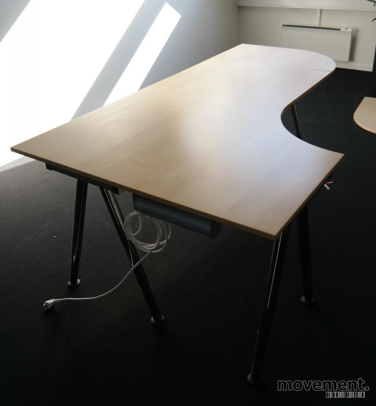 Velsete IKEA Galant hjørneløsing /hjørneskrivebord i bjerk, 200x120cm TM-64