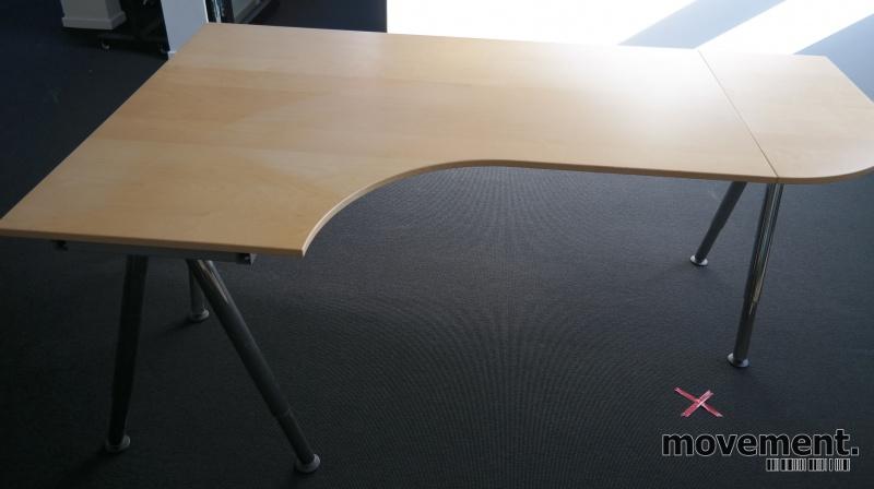 Fin IKEA Galant hjørneløsing /hjørneskrivebord i bjerk, 200x120cm EC-83