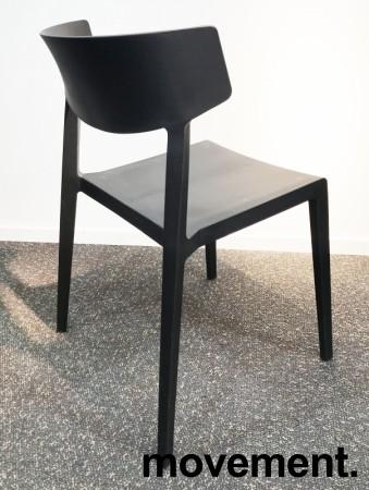 Lekker stablestol i sort kunststoff, UV-behandlet for utendørs bruk, modell MS03, NY/UBRUKT bilde 3