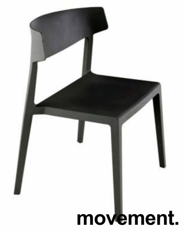 Lekker stablestol i sort kunststoff, UV-behandlet for utendørs bruk, modell MS03, NY/UBRUKT bilde 1
