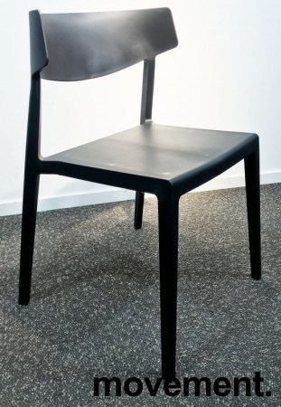 Lekker stablestol i sort kunststoff, UV-behandlet for utendørs bruk, modell MS03, NY/UBRUKT bilde 2